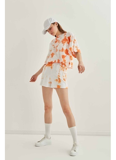 Vitrin Batik Boyama Crop Tshirt Oranj